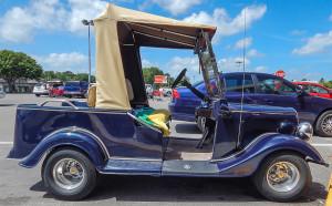 Blue Convertible Streetrod Club Car Golf Cart in Sun City Center