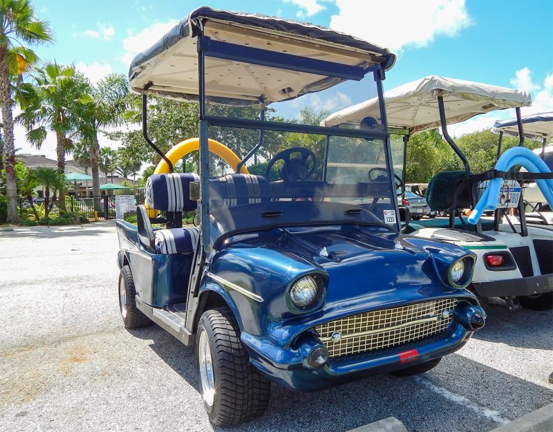 Dark blue 57 Chevy Bel-Air customized golf cart right side, Sun City Center, FL