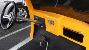 Dash board of Hummer H3 yellow golf cart