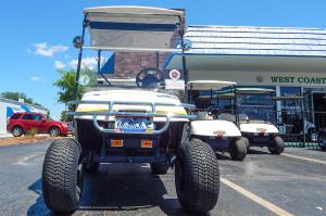 E-Z-GO Golf Cart with chrome bumper at West Coast Golf Cars of Sun City Center, Florida
