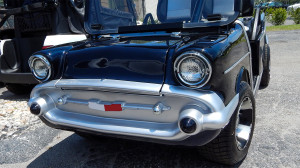Front grille of Black 1957 Chevy Bel Air Club Car Golf Cart