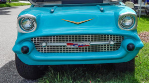Frontend grille of light blue 57 Chevy Bel Air golf cart, Sun City Center