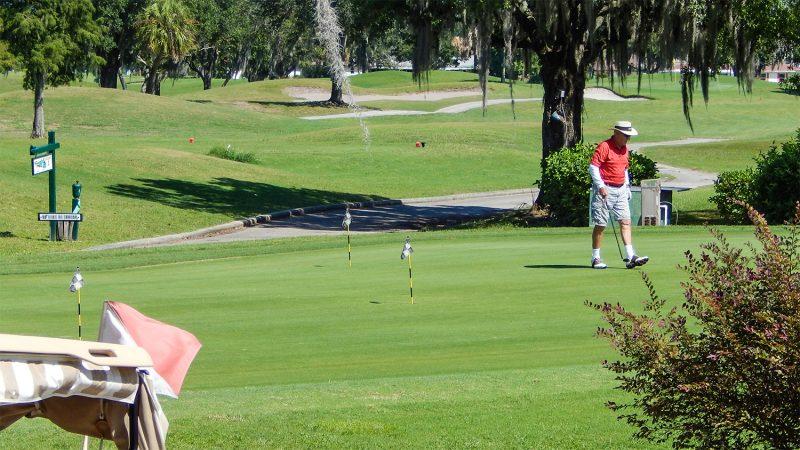 Golfer practicing short game at Sandpiper Golf Course, Sun City Center, FL