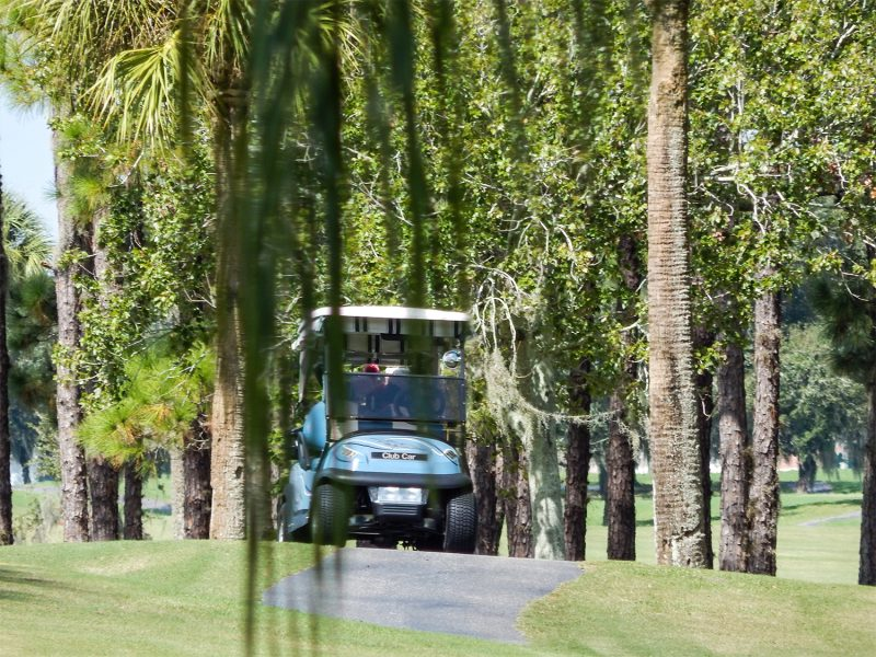 Golfers on cart path on Caloosa Golf Course, Sun City Center, FL