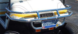 Jakes TXT Brush Guard Chrome bumper on E-Z-GO golf cart