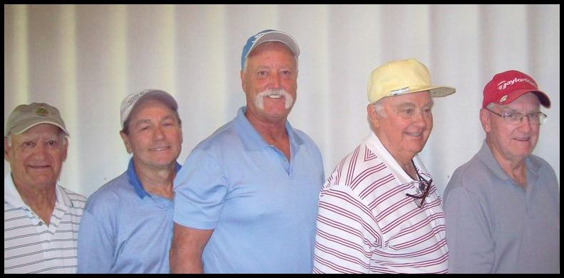 L to R Vince Pirone Flight Four, Fred Mayes Flight Three, Jim Hamilton White Tee Club Champion