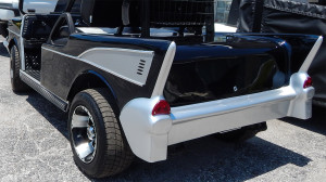 Left back view of Black 57 Chevy Bel Air Club Car Golf Cart