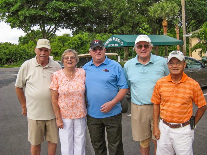 Left to Right Don Koester, Karen Jones, Charlie Brown, Bill Giblin, and Ray Bui |Hogans Golf Club Of Sun City Center and Kings Point [submitted by Pam Jones]