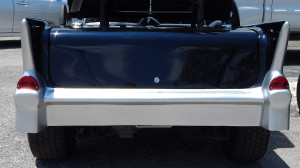 Lockable trunk on Black 57 Chevy Bel Air Club Car Golf Cart