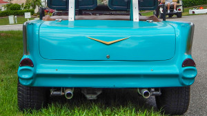 Lockable trunk on Blue 57 Chevy Bel Air Golf Cart, Sun City Center