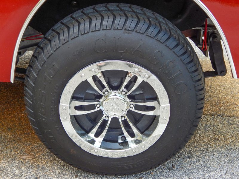 MOJO Chrome wheels on customized 40s style truck golf cart on Club Car frame in Sun City Center FL