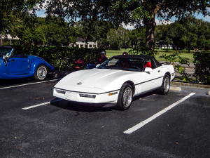 Norm Kleins 1989 white Corvette at High Rollers Car Club Show at Cypress Assisted Living Residence in Sun City Center, Florida