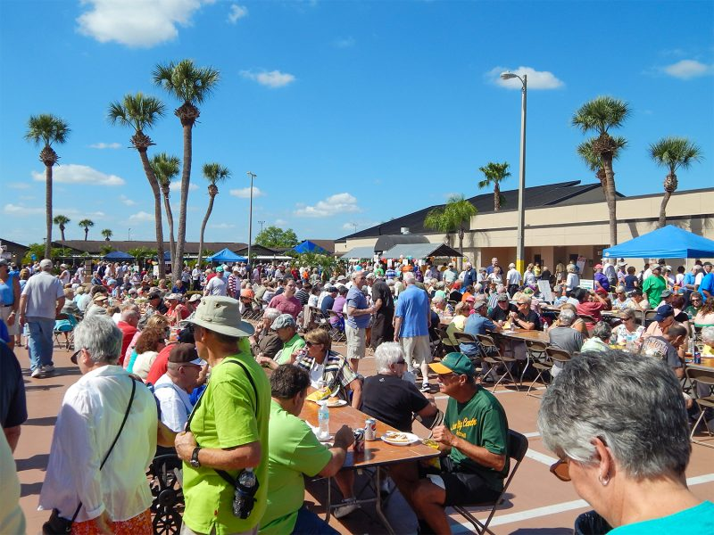 People gather in court yard at Fun Fest 2014, Sun City Center, FL