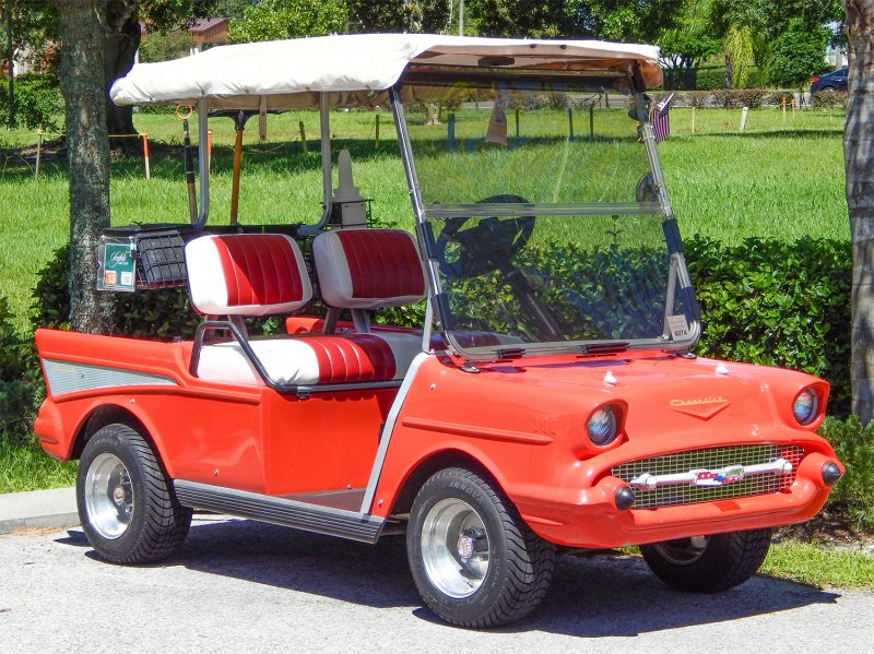 Red 57 Chevy Bel-Air Club Car golf cart