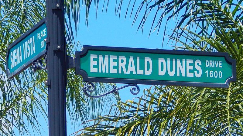 Street Sign Siena Vista and Emerald Dunes in Renaissance, Sun City Center, FL