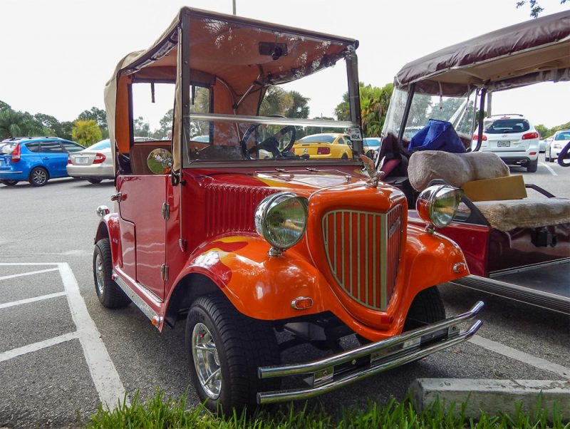 Yesteryear Convertible Club Car Golf Cart With Flames And