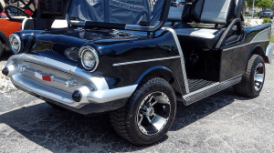 front left side view of Black 1957 Chevy Bel Air Club Car Golf Cart