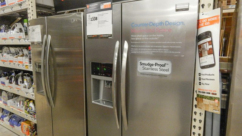 refrigerator at home depot. smudge-proof stainless steel frigidaire side-by-side 22 cubit feet refrigerator at home depot, sun city center, fl depot