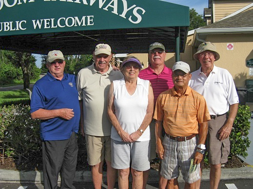 Back Row Left to Right: Charlie Brown, Don Koester, Mike Brock, and Andy Betz, Front Row Left to Right: Karen Jones and Ray Bui |Freedom Fairways Golf Course in Sun City Center