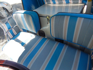 Custom upholstered seats in Royal Ride Rolls Royce golf cart
