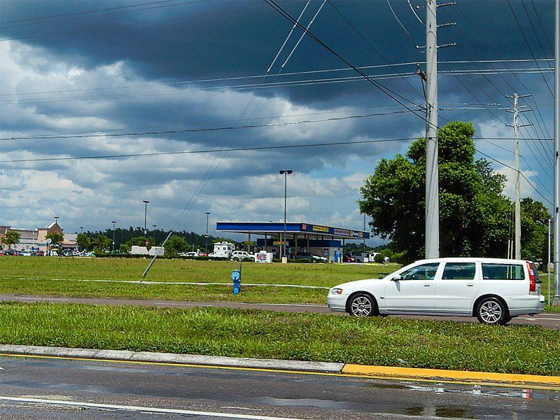Dark clouds over Walmart in Wimauma near Sun City Center, FL