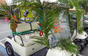 Decorated golf carts for Relay For Life at SCC Chamber of Commerce