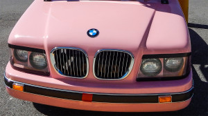 Grille of Pink BMW customized golf cart