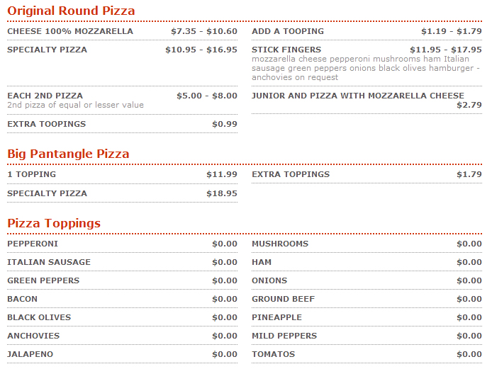 Hungry Howies Pizza menu
