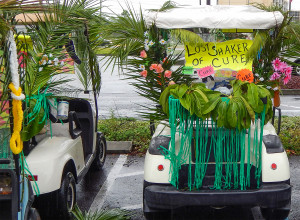 Lost Shaker Of Cure decorated golf carts and Relay For Life at SCC Chamber of Commerce
