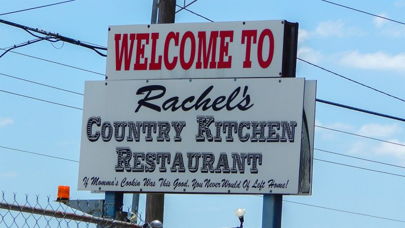 Outside road sign of Rachels Country Kitchen Restaurant, Wimauma, FL