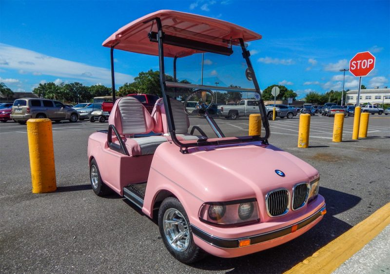 Pink bmw club car golf cart in sun city center fl sun for Sun motor cars bmw