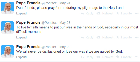 Pop Francis Tweets from Vatican City