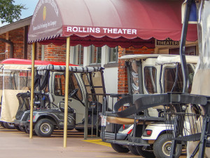 Rollins Theatre provides front row parking for golf carts, Sun City Center