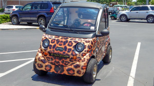 STARev electric car with leopard paint job
