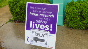 Sign 'The American Cancer Society funds research' Relay For Life at Sun City Center Chamber Of Commerce