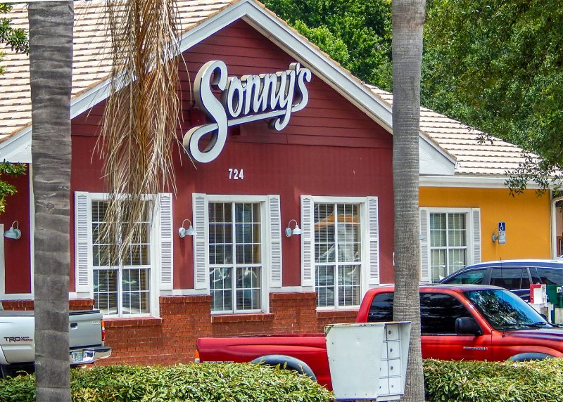 Sonny's Bar-B-Q drive-thru and dinning area was busy on Memorial Day 2014 in Sun City Center, FL
