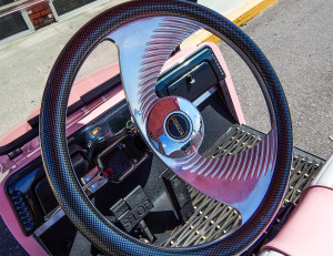 Stretch Plastic steering wheel on BMW golf cart
