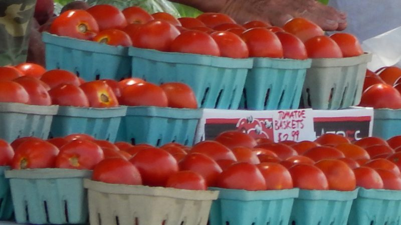 Tomato baskets with 5 tomotoes $2.99 at Kings Point Farmer's Market, Sun City Center