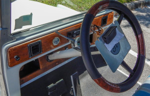 Wooden dash board on Rolls Royce Royal Ride golf cart