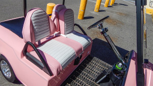 pink and white seat in BMW golf cart