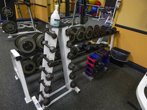 Dumbell racks at Kings Point Fitness Center at South Clubhouse