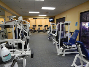 Exercise machines in gym at Kings Point South Club, Sun City Center