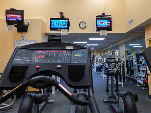 Flat screen TVs at South Club Fitness Center in Kings Point