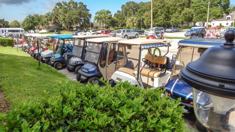 Front row parking for golf carts and Kings Point Main Clubhouse, Sun City Center