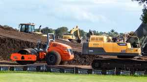 Aug 7, 2014 - Hamm 3410 Roller and VOLVO EC480DL Flagler at construction site Sun City Center