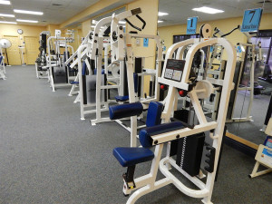 Lateral raise machine at South Clubhouse Fitness Center in Kings Point, Sun City Center, FL
