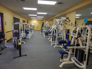 Rowing and shoulder raising machines at Kings Point South Fitness Center, Sun City Center FL