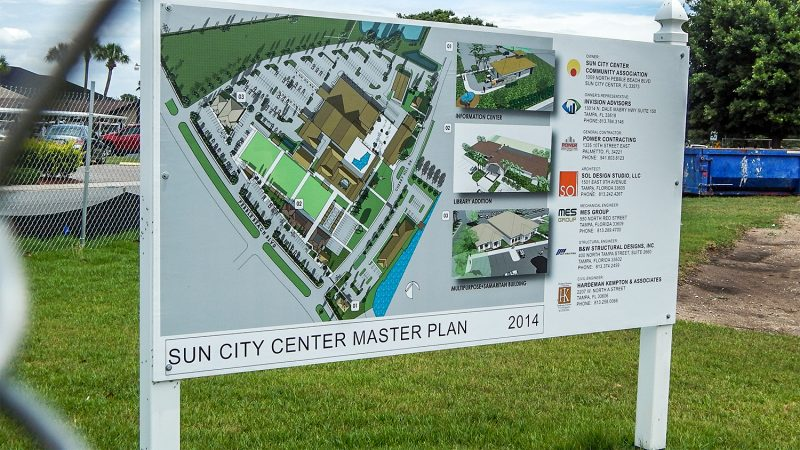 Sign on Pebble Beach Blvd and Cherry Hills Drive that reads Sun City Center Master Plan 2014