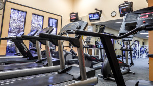 Treadmill and TVs at Gym at South Clubhouse in Kings Point, Sun City Center