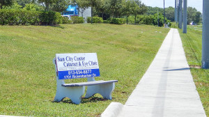 Walmart bench with Sun City Center Cataract and Eye Clinic advertisment